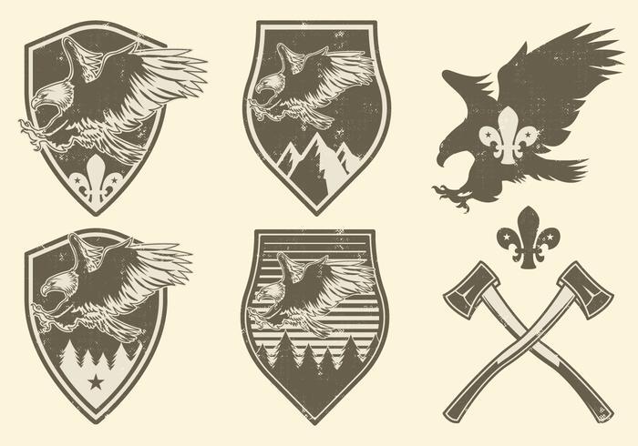 Badges de camping vintage vecteur