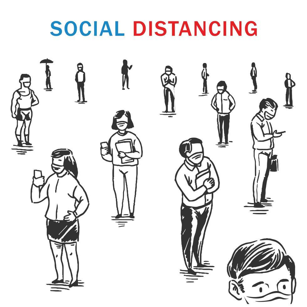 concept de distanciation sociale dessiné à la main avec des personnes masquées vecteur