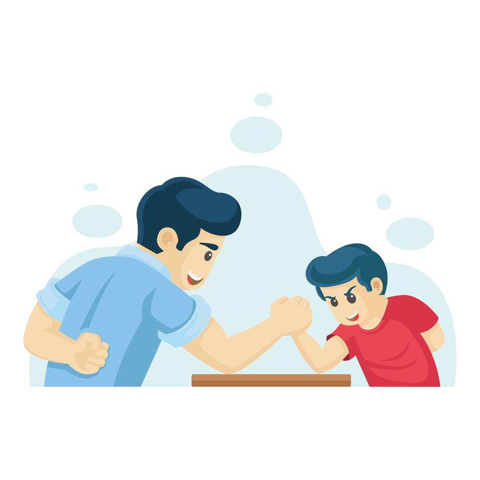bras de fer père et fils vecteur