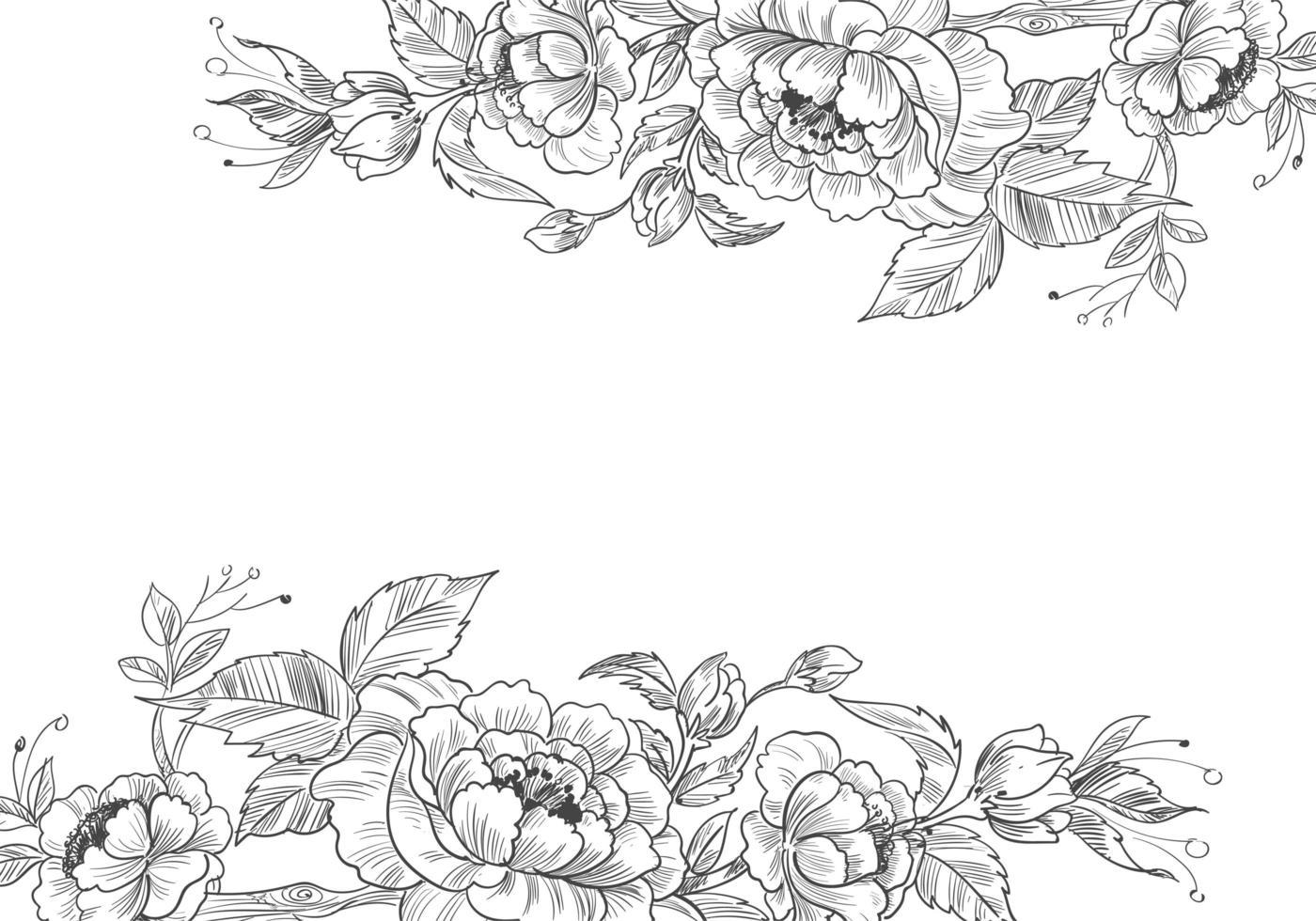 bordures florales décoratives dessinées à la main vecteur