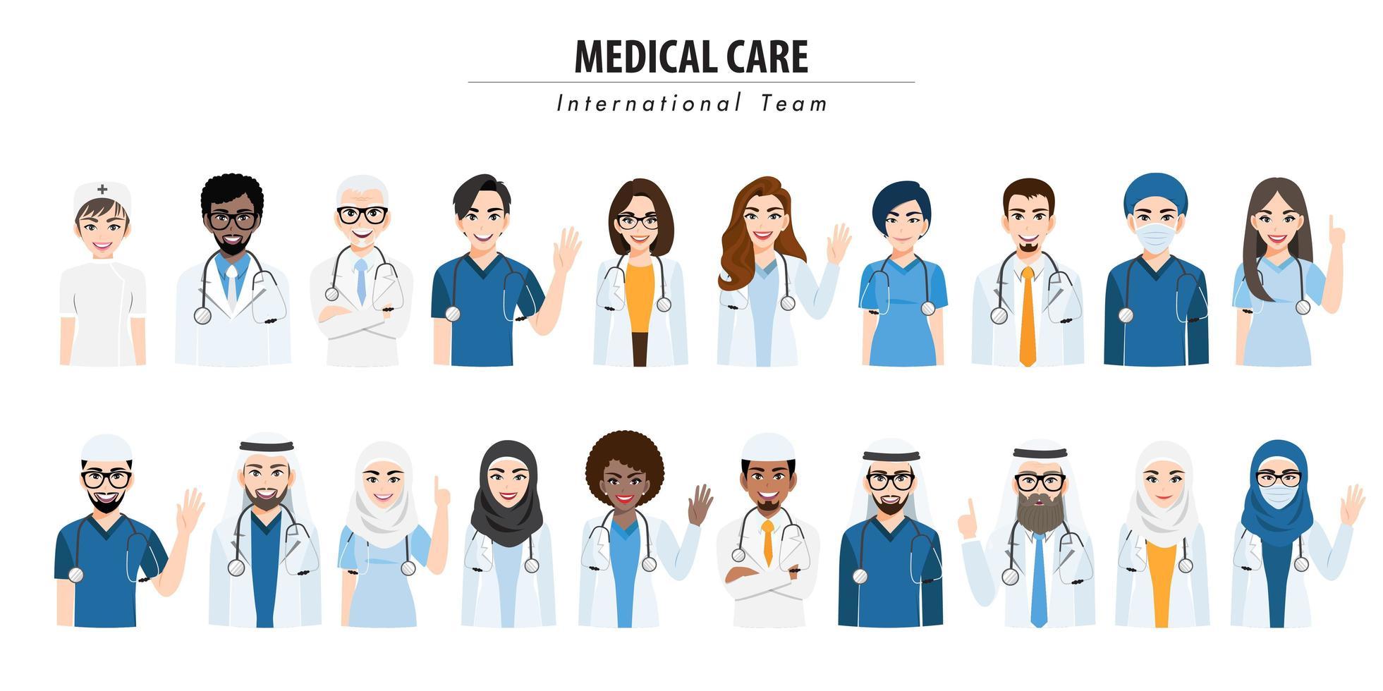 équipe médicale internationale et ensemble du personnel vecteur