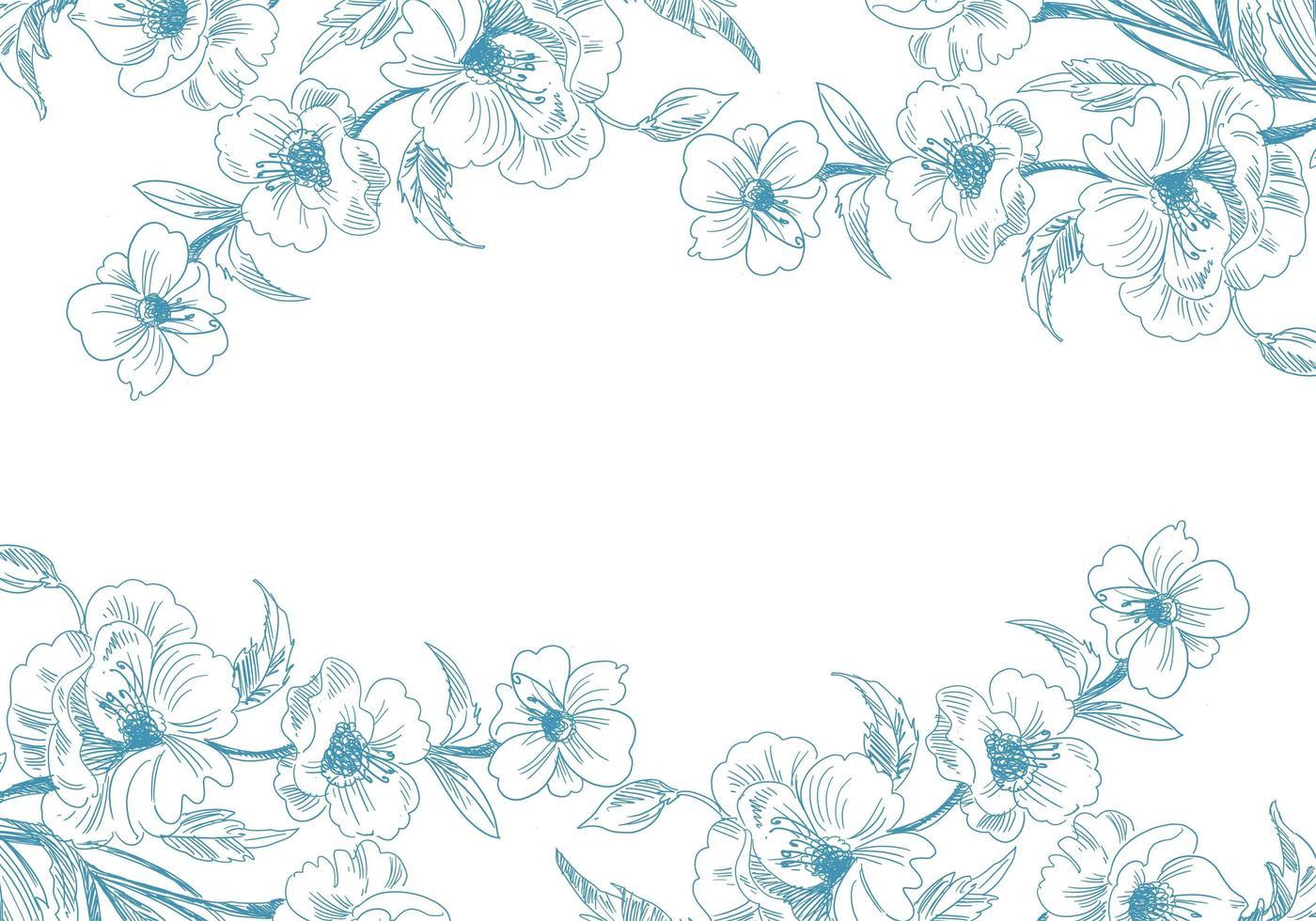 bordures florales de croquis bleu vecteur