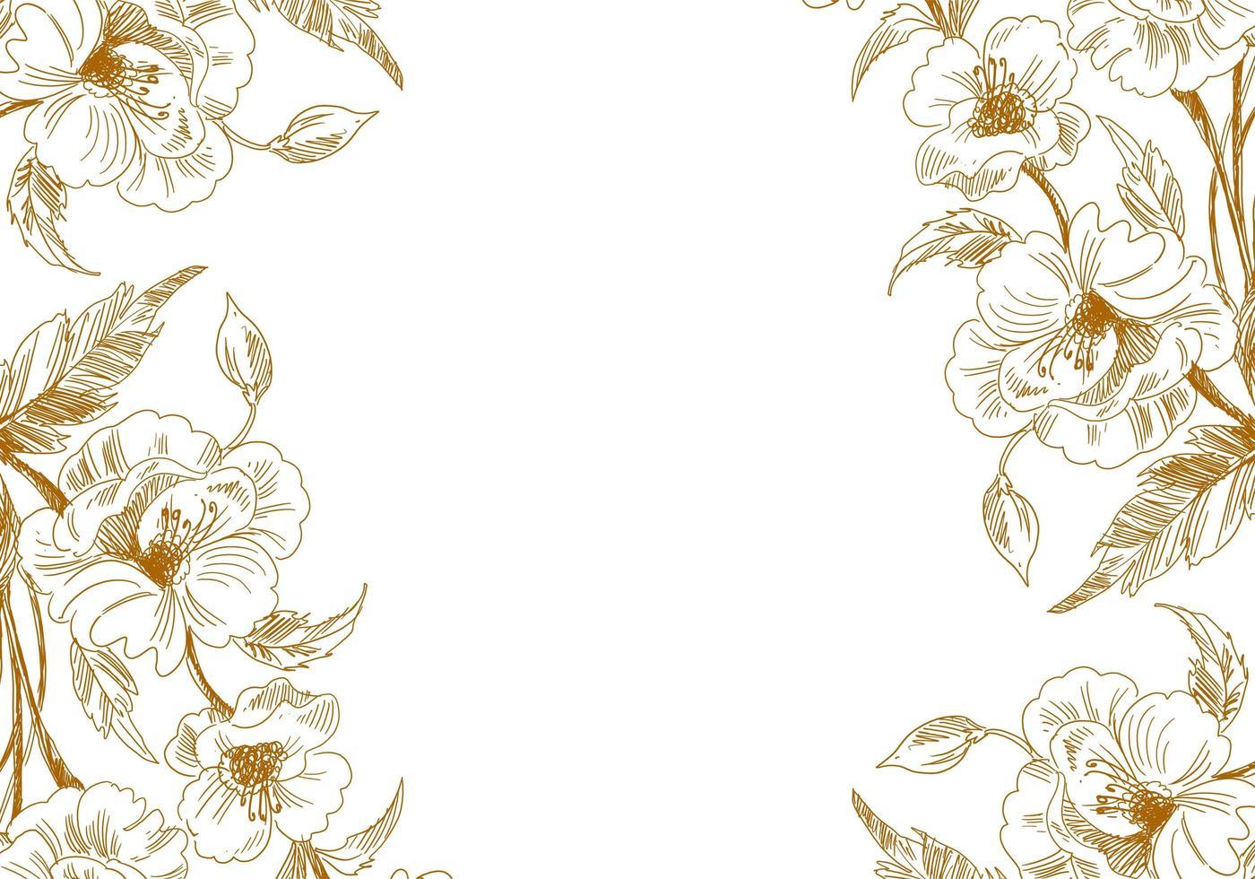 bordures florales de croquis vintage artistique vecteur