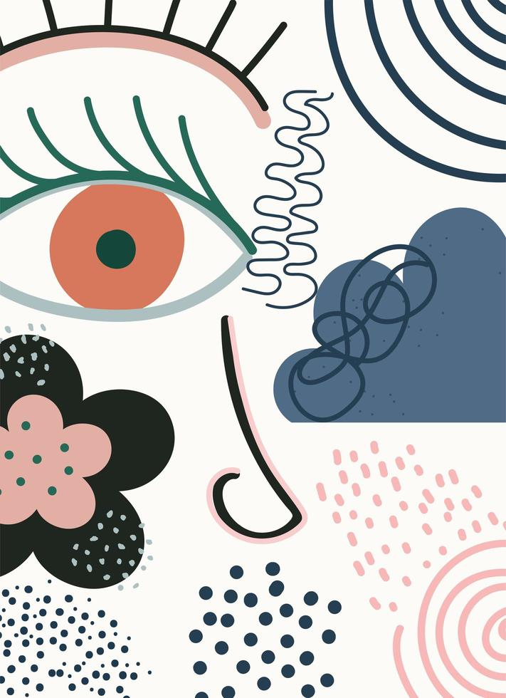 visage et modèle de formes contemporaines abstraites, dessinées à la main vecteur