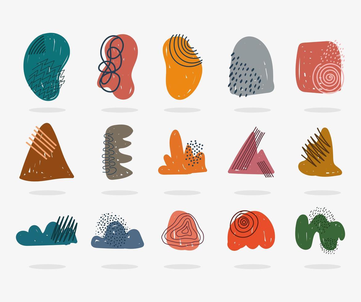 icônes contemporaines dessinées à la main sous forme de formes abstraites vecteur