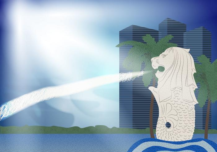 Merlion paysage illustration vecteur