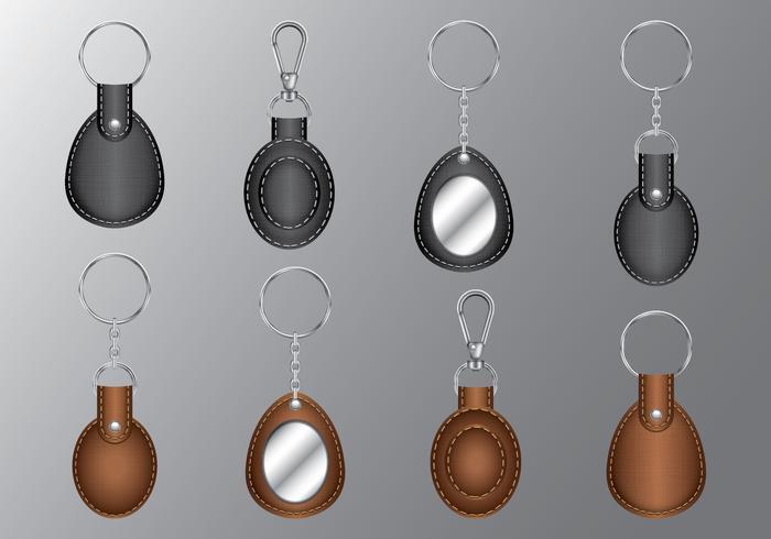 Porte-clés ovales en cuir vecteur