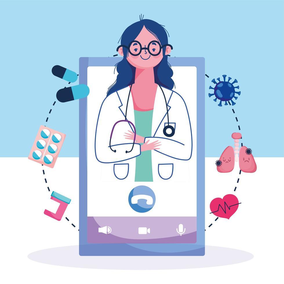 assistance médicale femme médecin vecteur