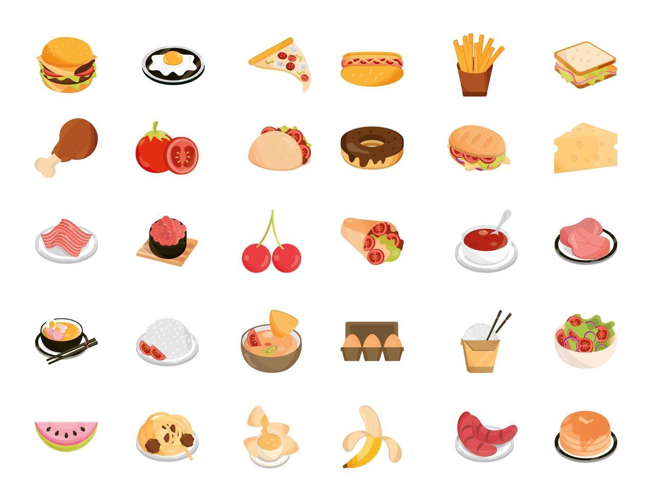collection d & # 39; icônes de style plat restaurant nourriture et fruits vecteur