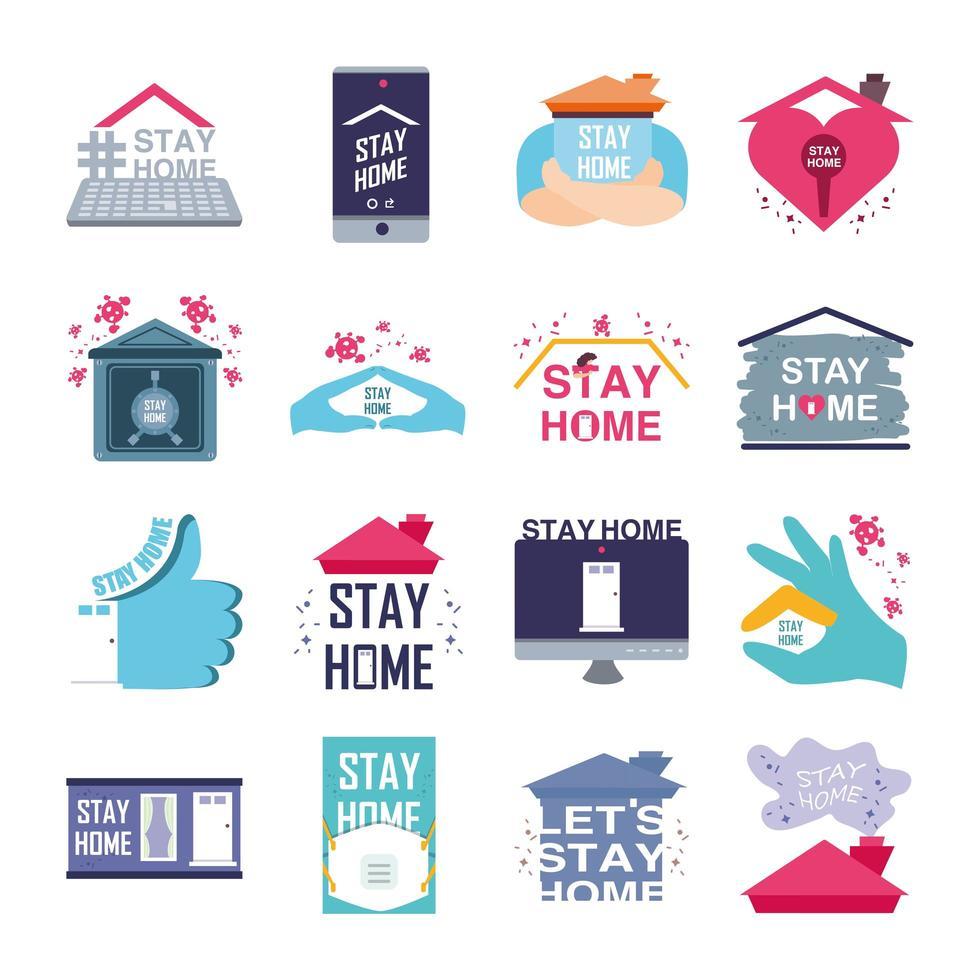 ensemble d & # 39; icônes de prévention des coronavirus et de rester à la maison vecteur