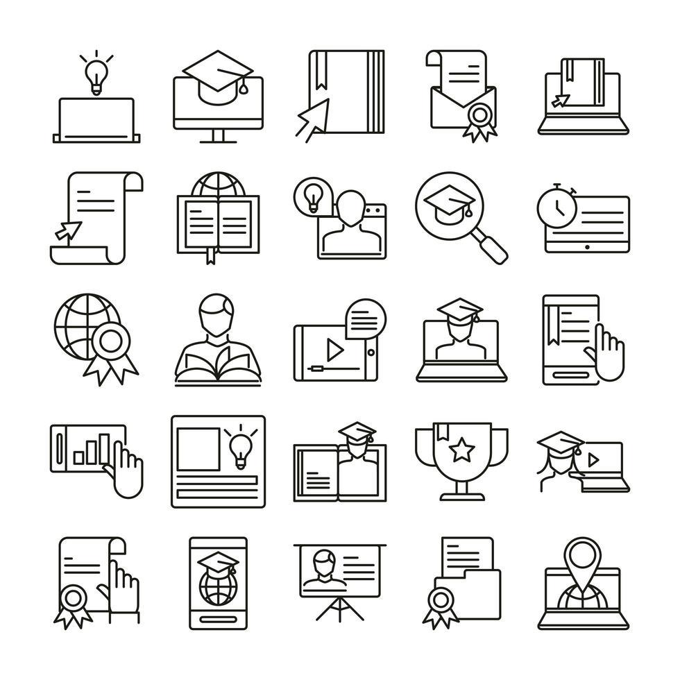 jeu d'icônes d'éducation en ligne vecteur