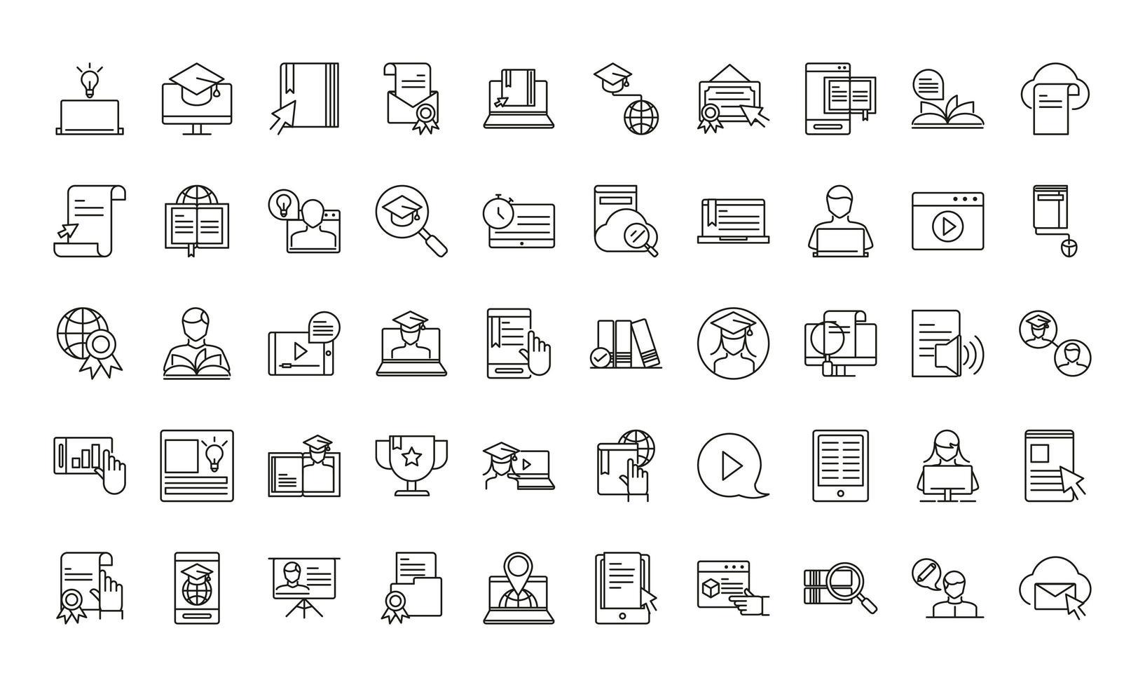 collection d'icônes d'éducation en ligne vecteur