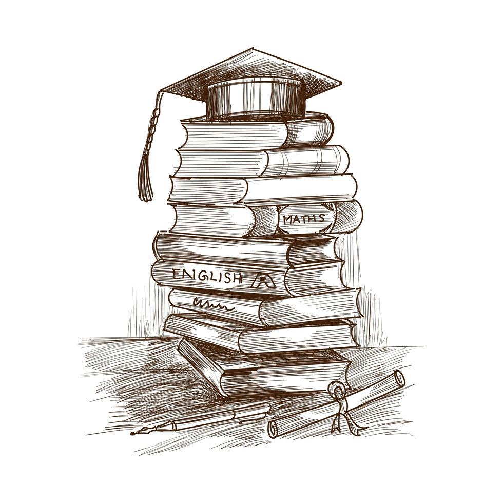 Pile d'éducation dessinée à la main de croquis de livres vecteur