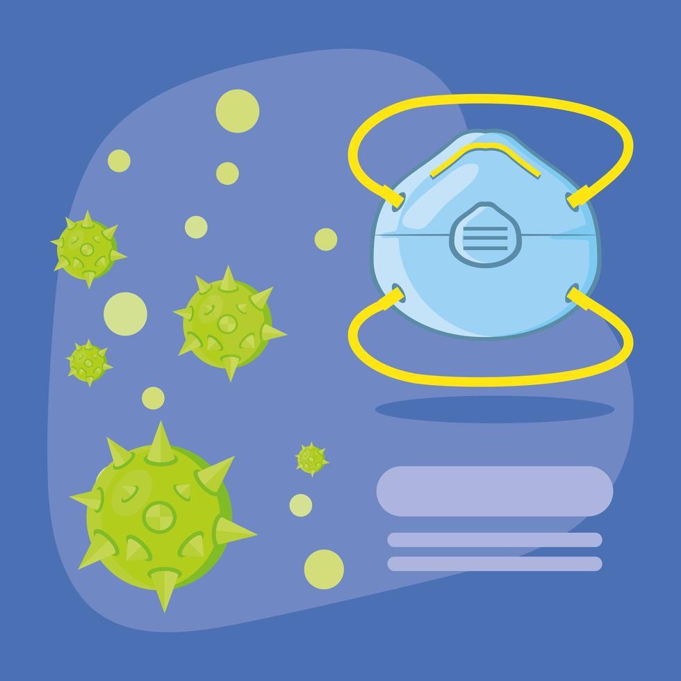 infographie avec masque médical protégeant du coronavirus vecteur