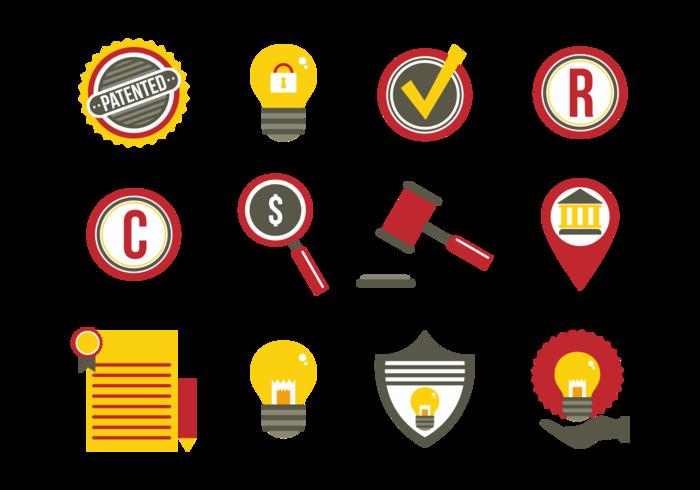 Idées de protection des brevets Icônes plates vecteur