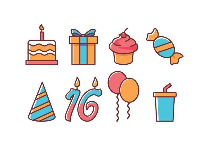 Ensemble d'icônes d'anniversaire gratuit vecteur