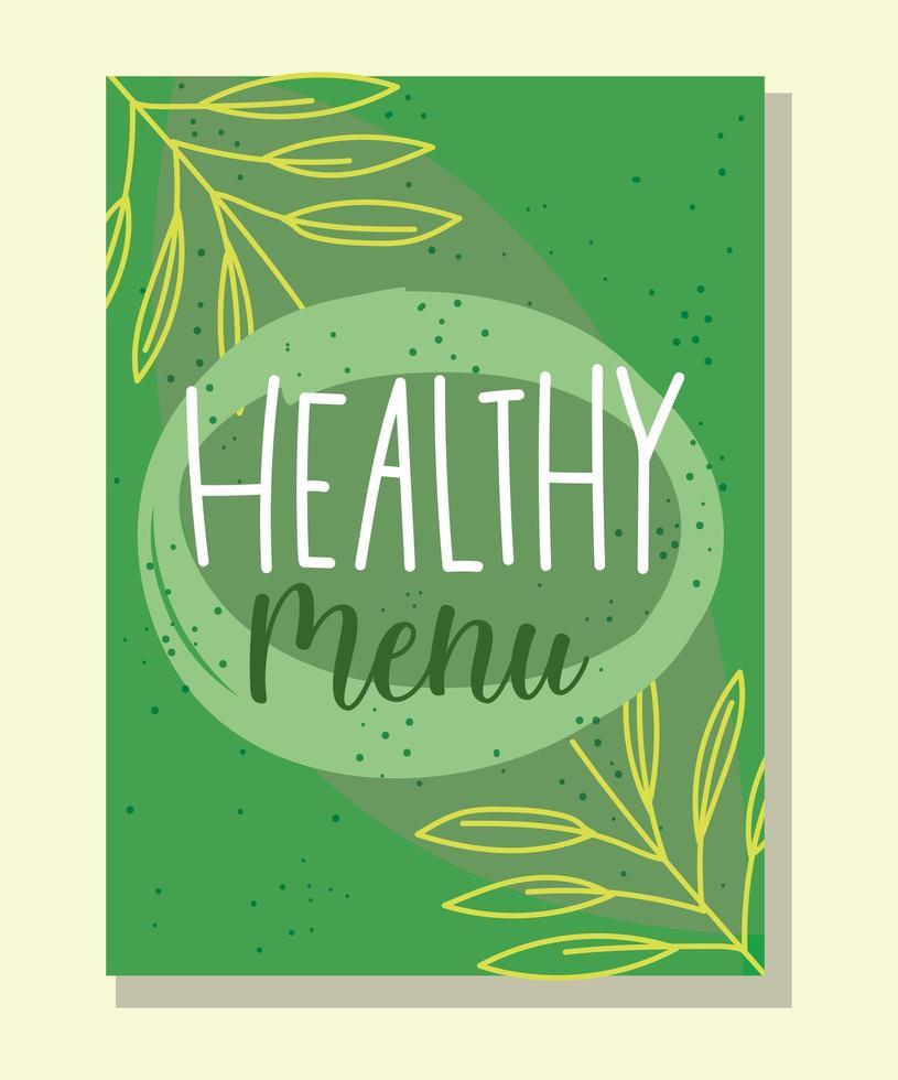 modèle de bannière verte lettrage de menu sain vecteur