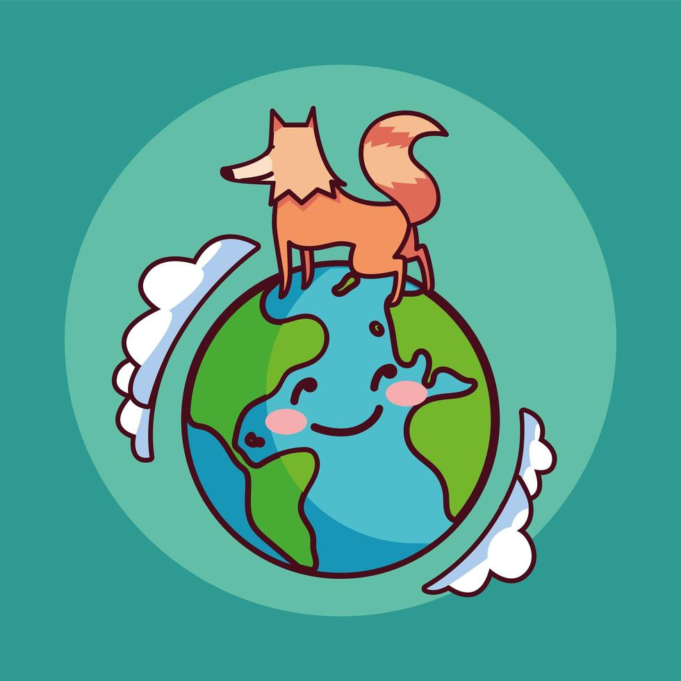planète terre souriant et un renard vecteur