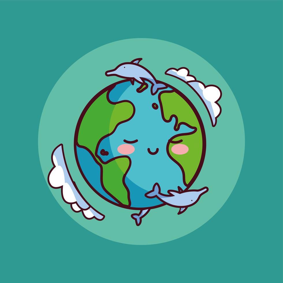 planète terre avec des dauphins autour vecteur
