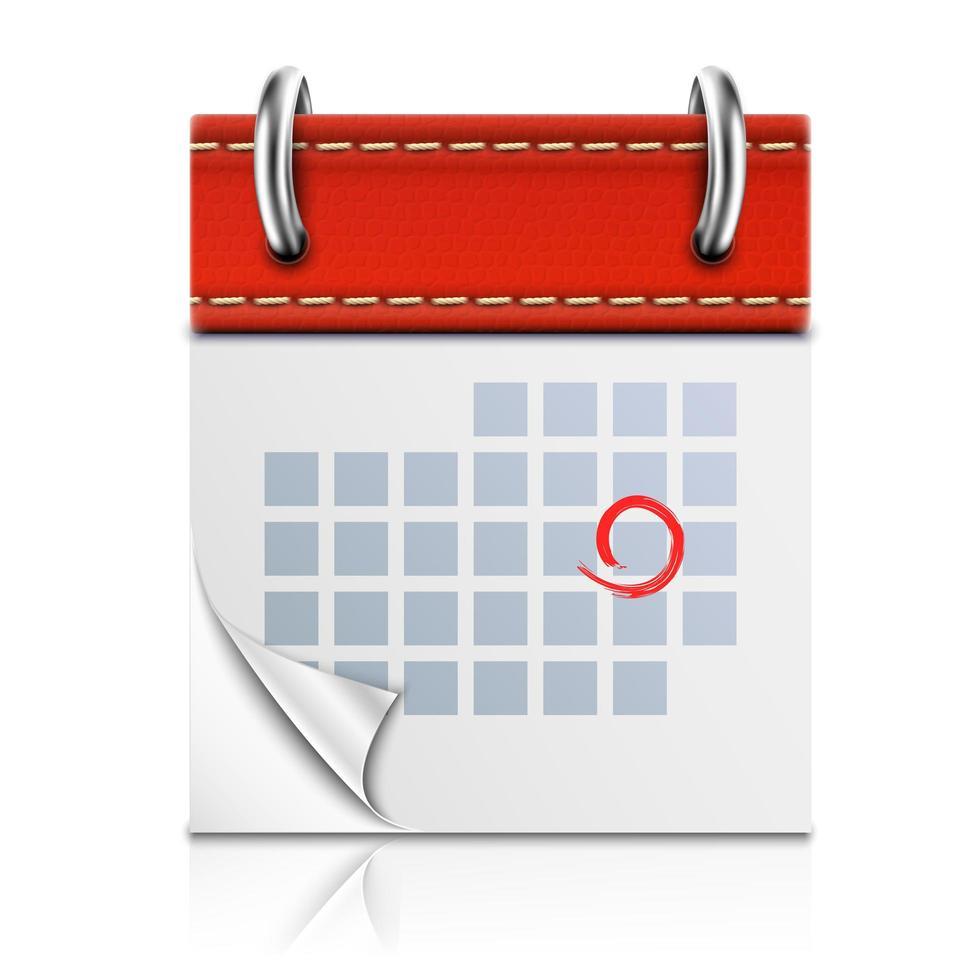 icône de calendrier rouge isolé réaliste avec réflexion vecteur