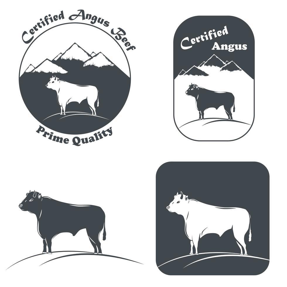 emblème de taureau angus certifié en blanc et noir vecteur