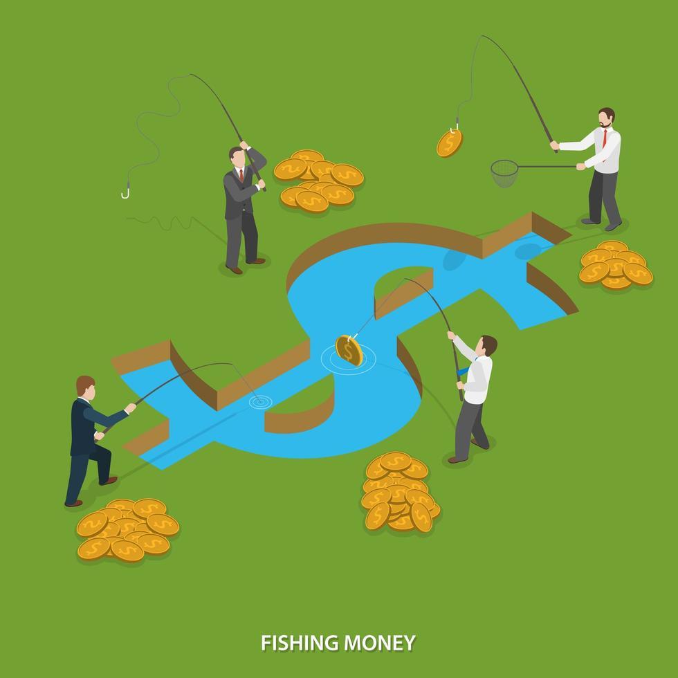 hommes d & # 39; affaires à la pêche de l & # 39; argent dans l & # 39; eau du signe dollar vecteur
