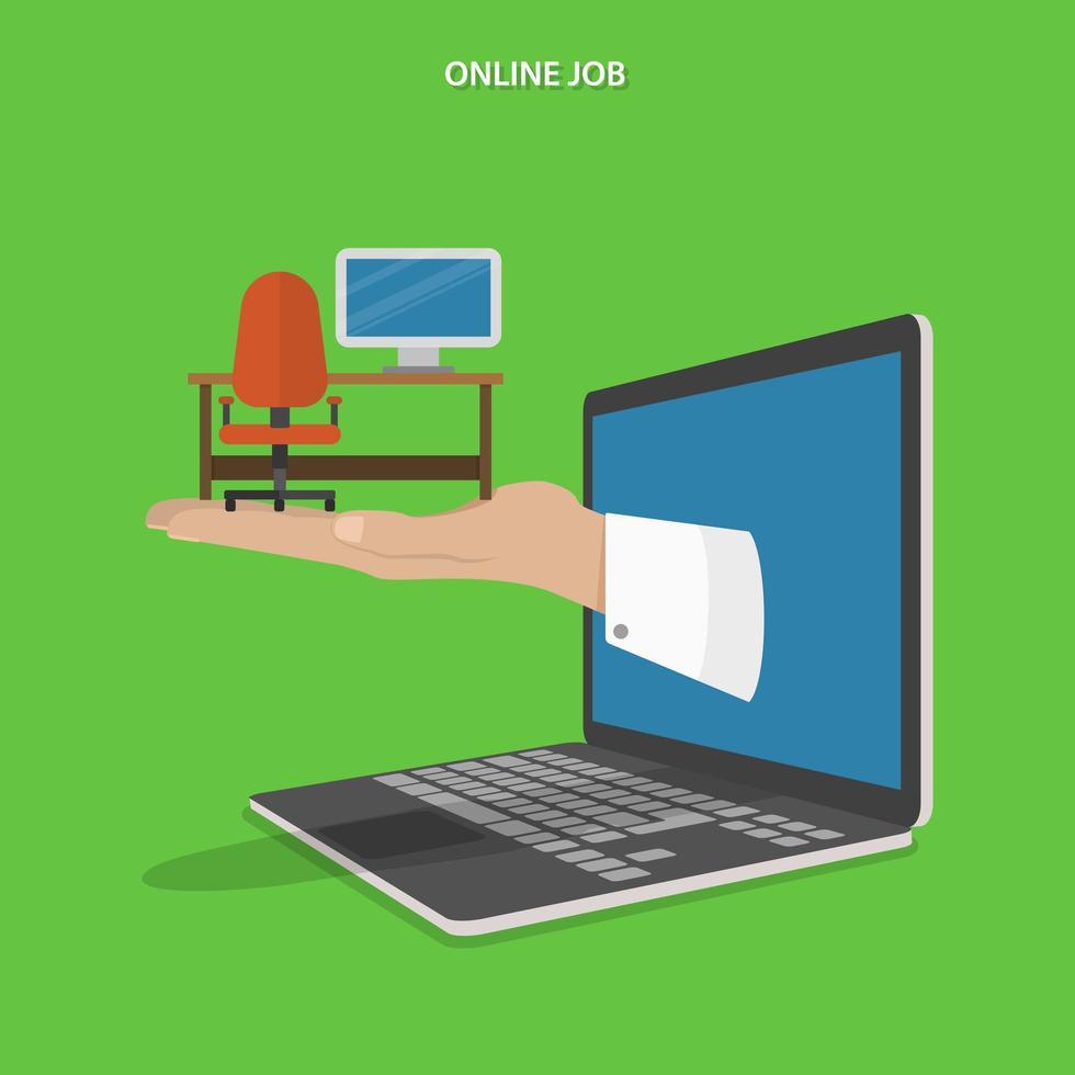 Hand holding computer desk apparaissant depuis un ordinateur portable vecteur