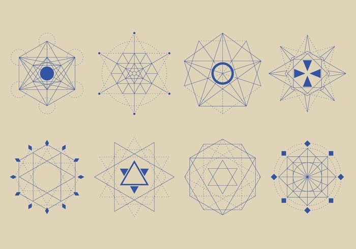 Ensemble de formes de géométrie sacrée vecteur