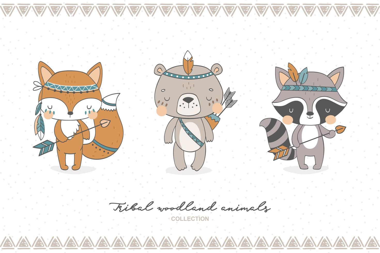 collection d'animaux de la forêt tribale vecteur