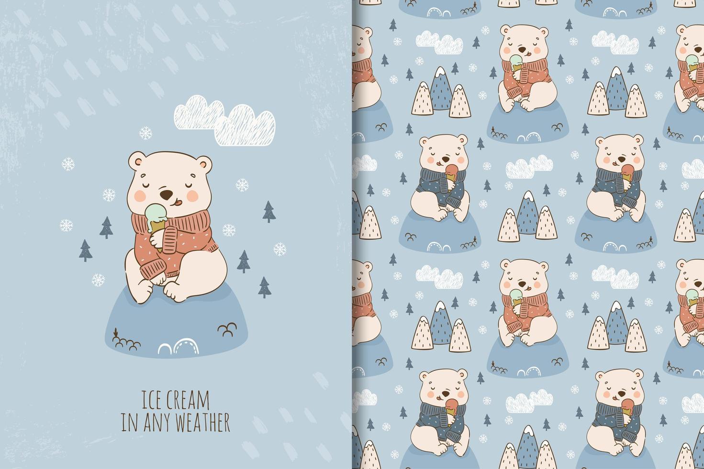 dessin animé, ours en peluche, manger, glace vecteur