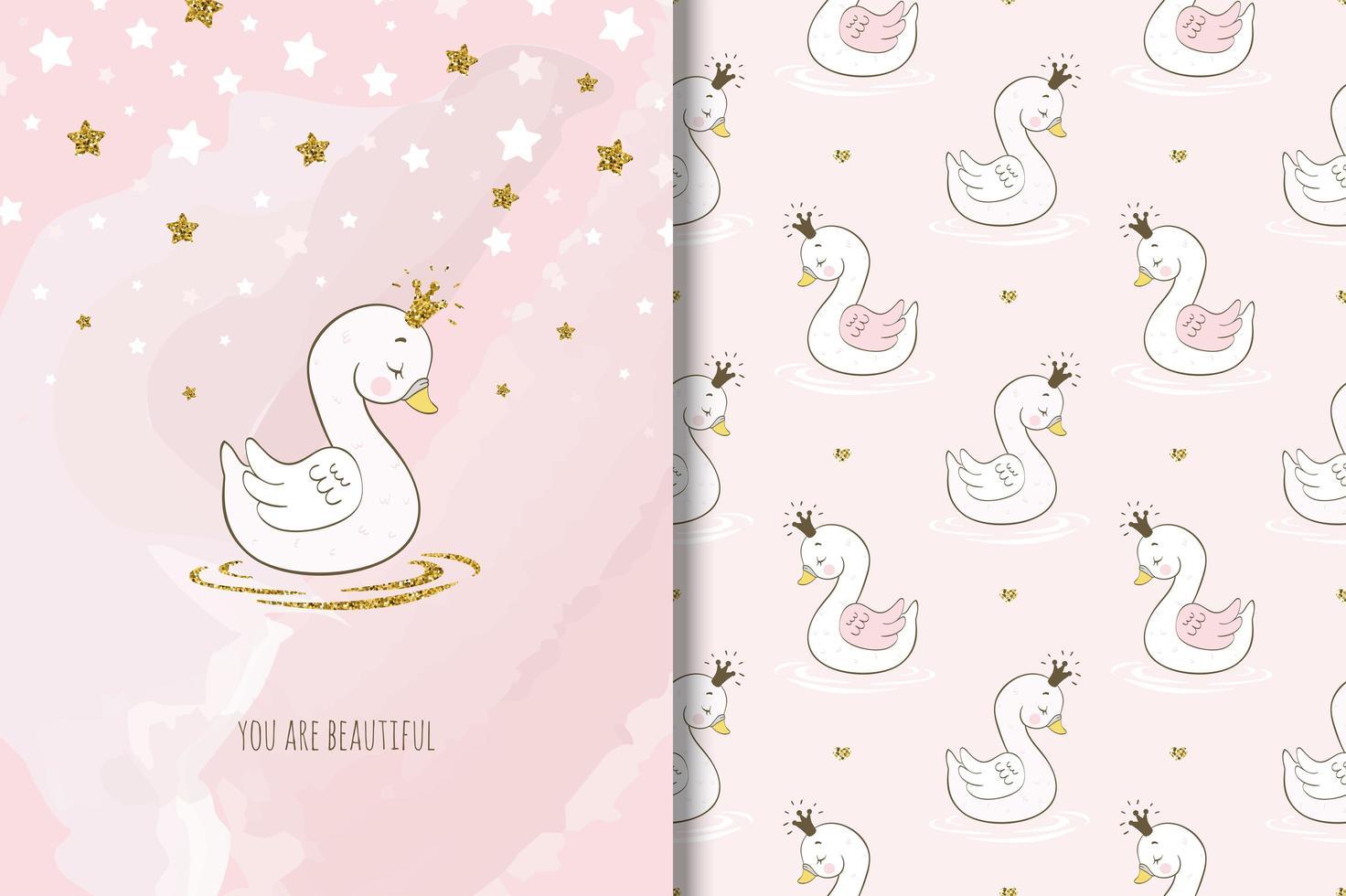 bel oiseau cygne princesse vecteur
