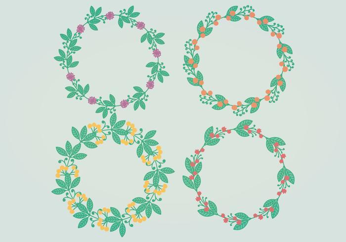 Couronnes florales vectorielles vecteur