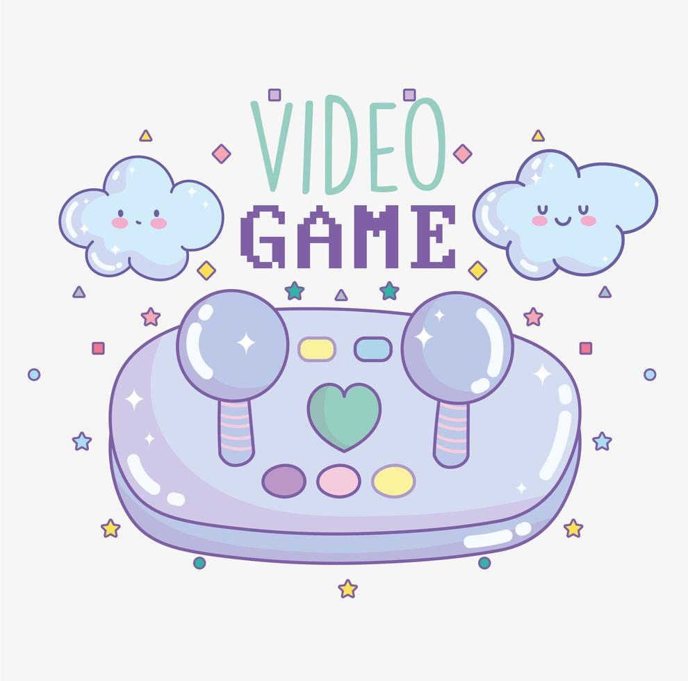 contrôleur de jeu vidéo avec lettrage et nuages vecteur