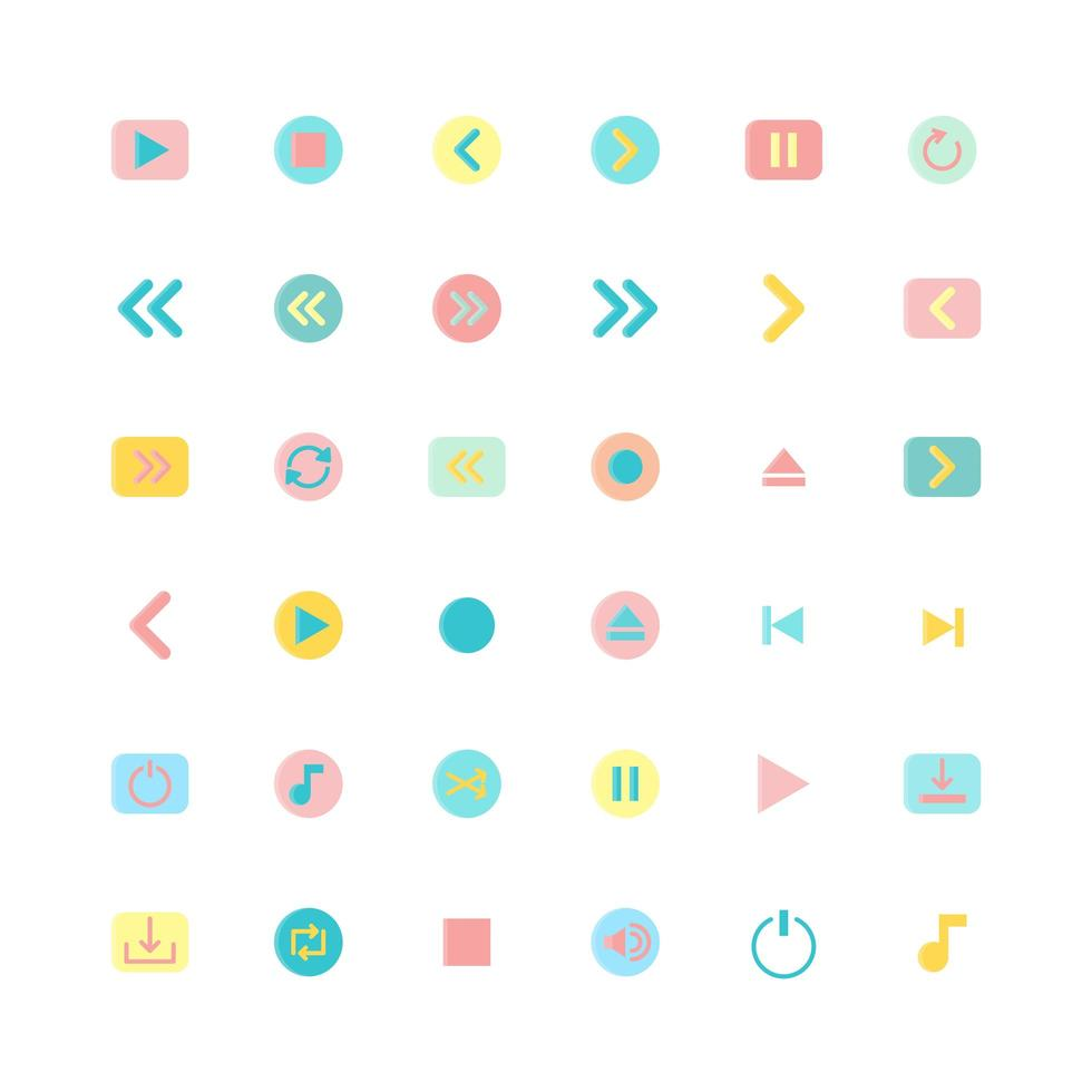 jeu d'icônes plat coloré de médias vecteur