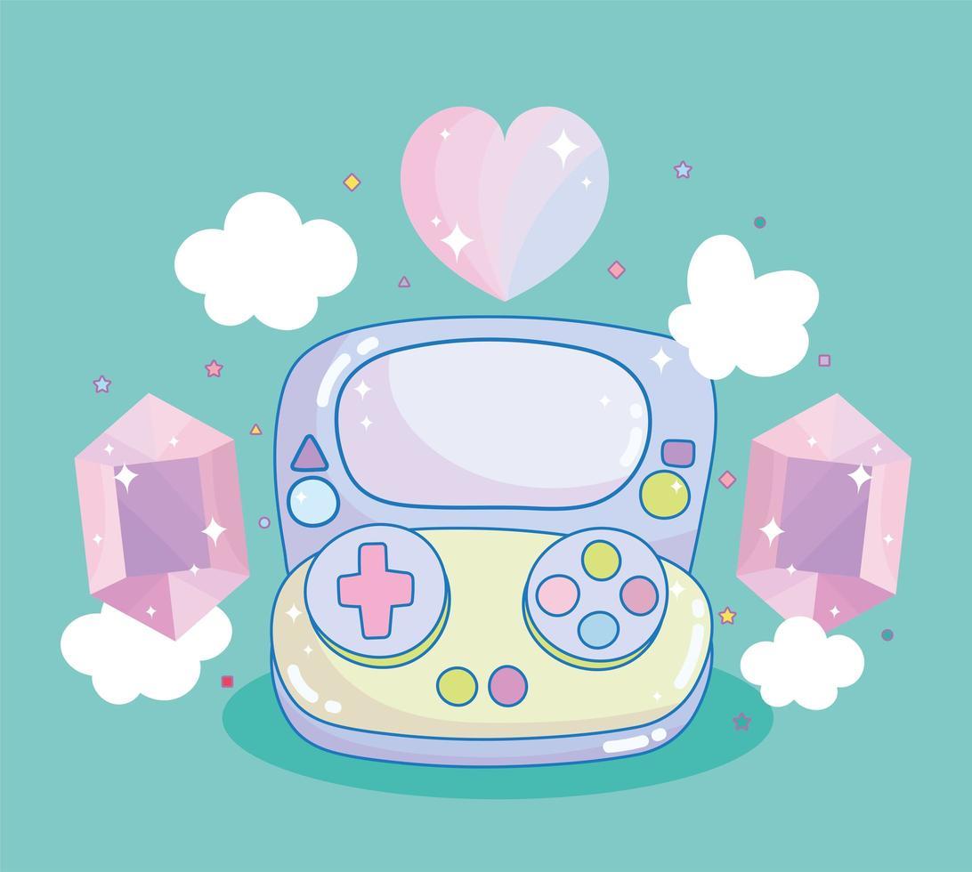 manette de jeu vidéo avec pierres précieuses et coeur vecteur