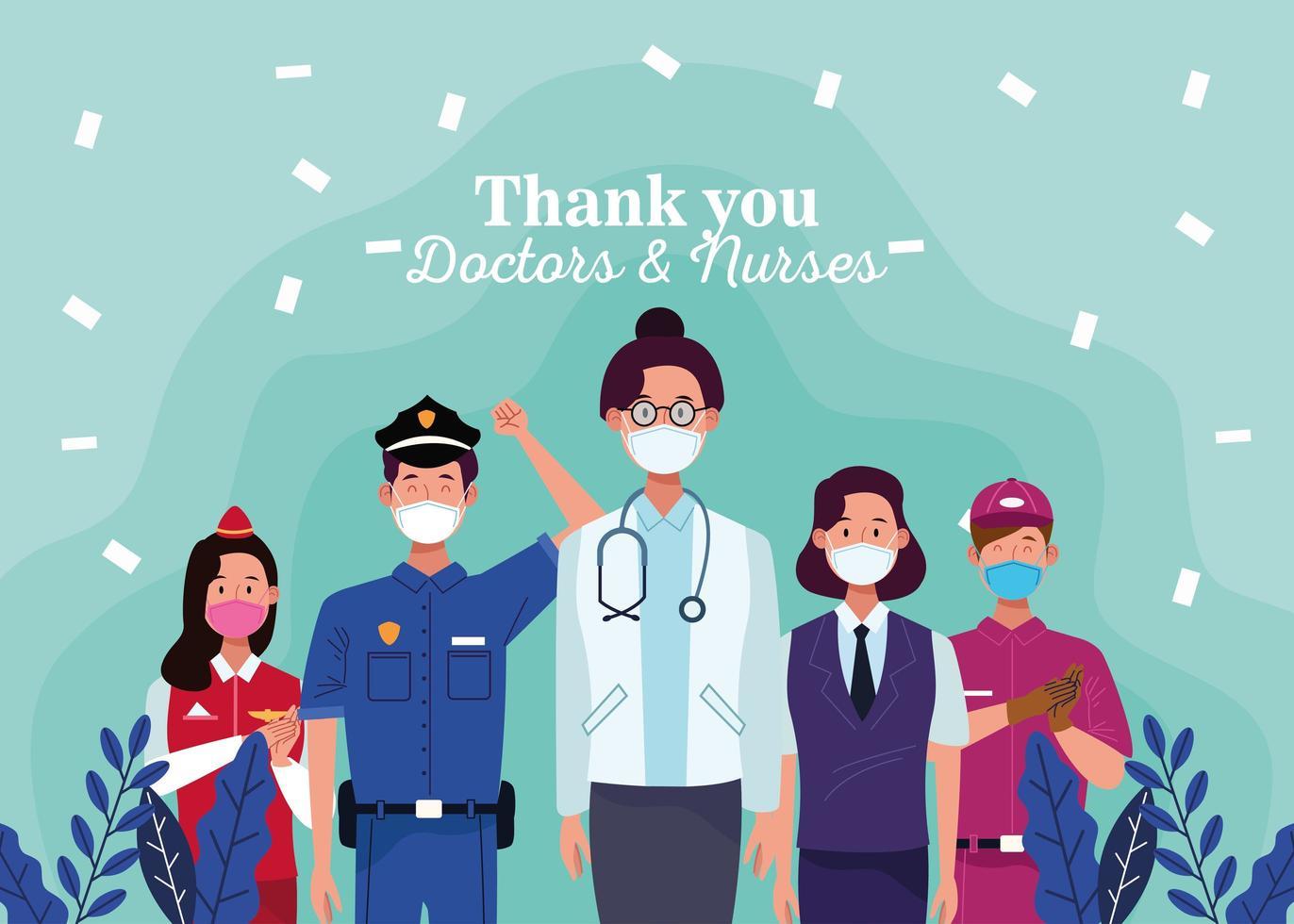 travailleurs utilisant des masques médicaux avec un message de remerciement aux médecins et infirmières vecteur