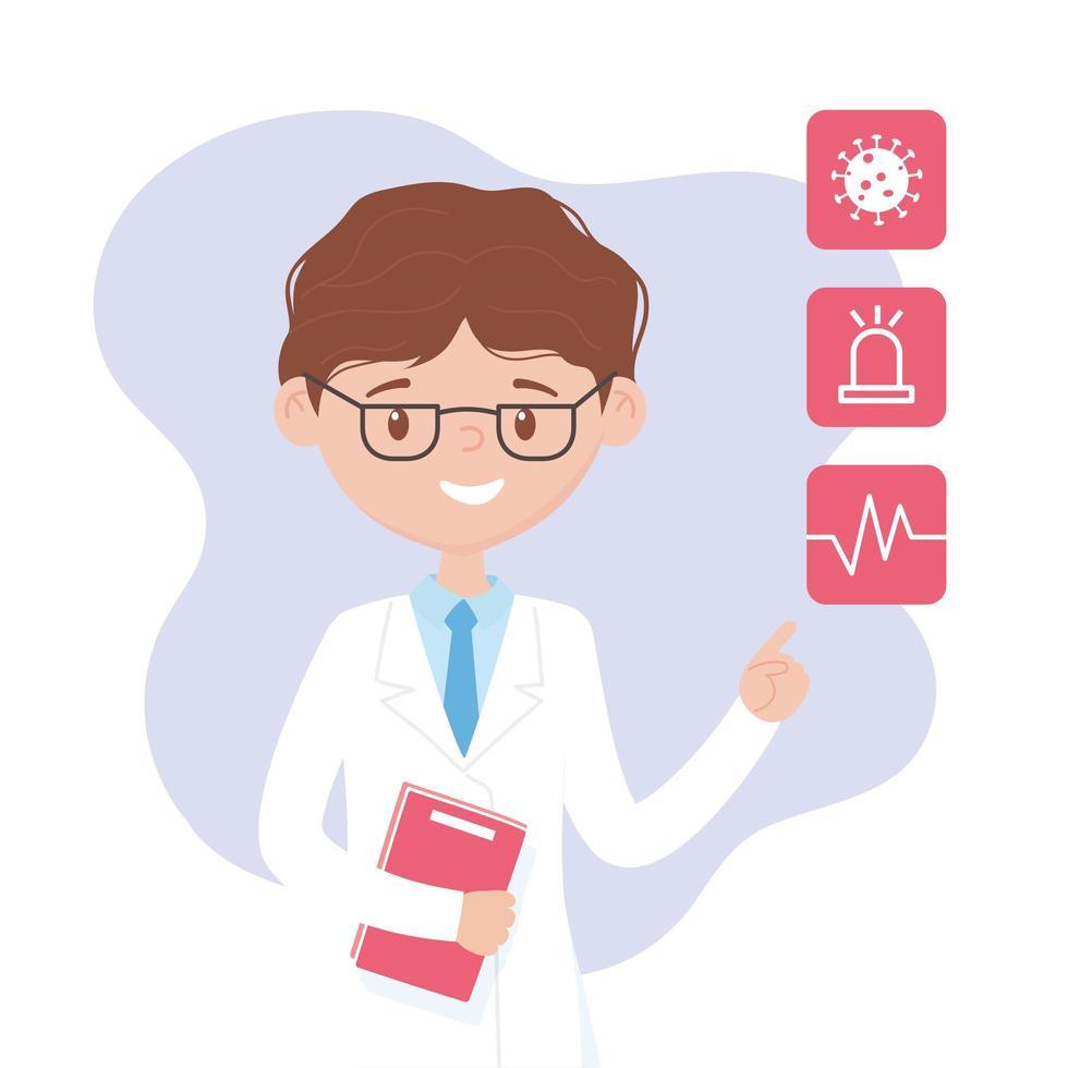 médecin expliquant les symptômes avec des icônes médicales vecteur