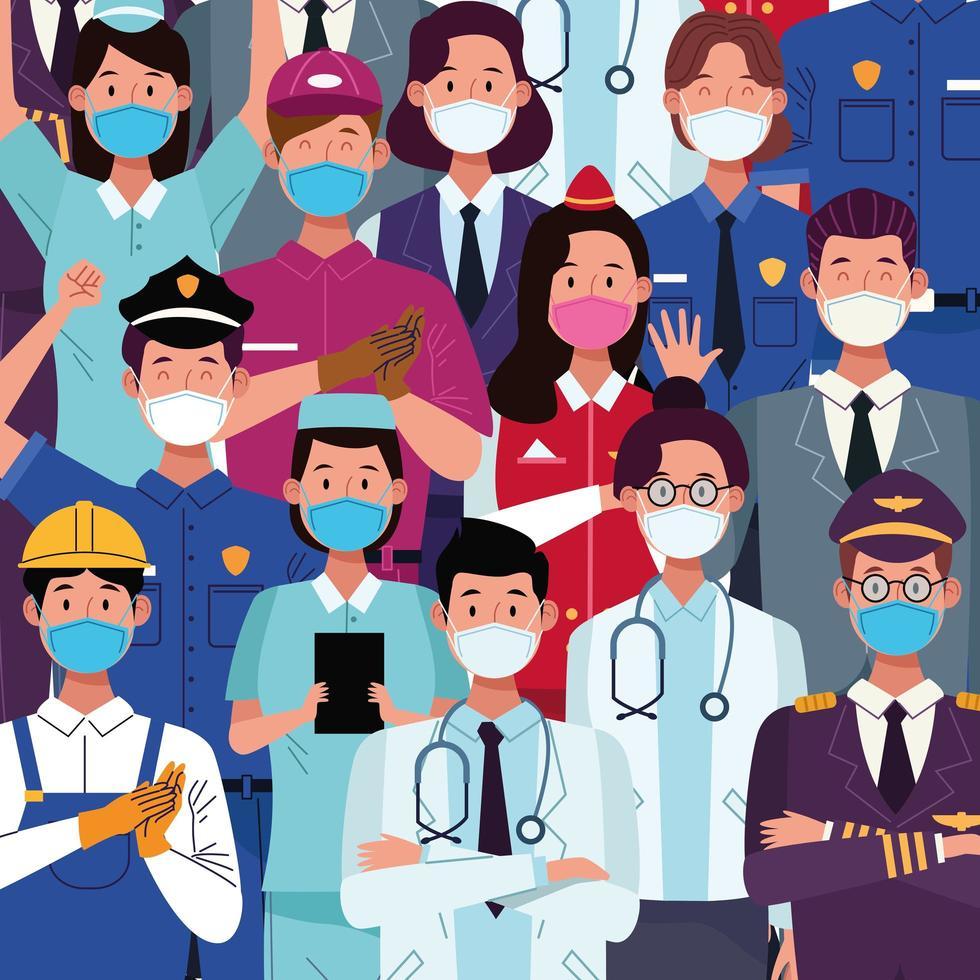 groupe de travailleurs utilisant des masques médicaux vecteur