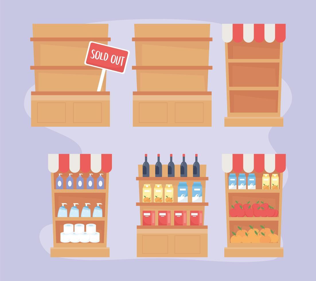Ensemble d'étagères d'épicerie, de marché et de pharmacie vecteur