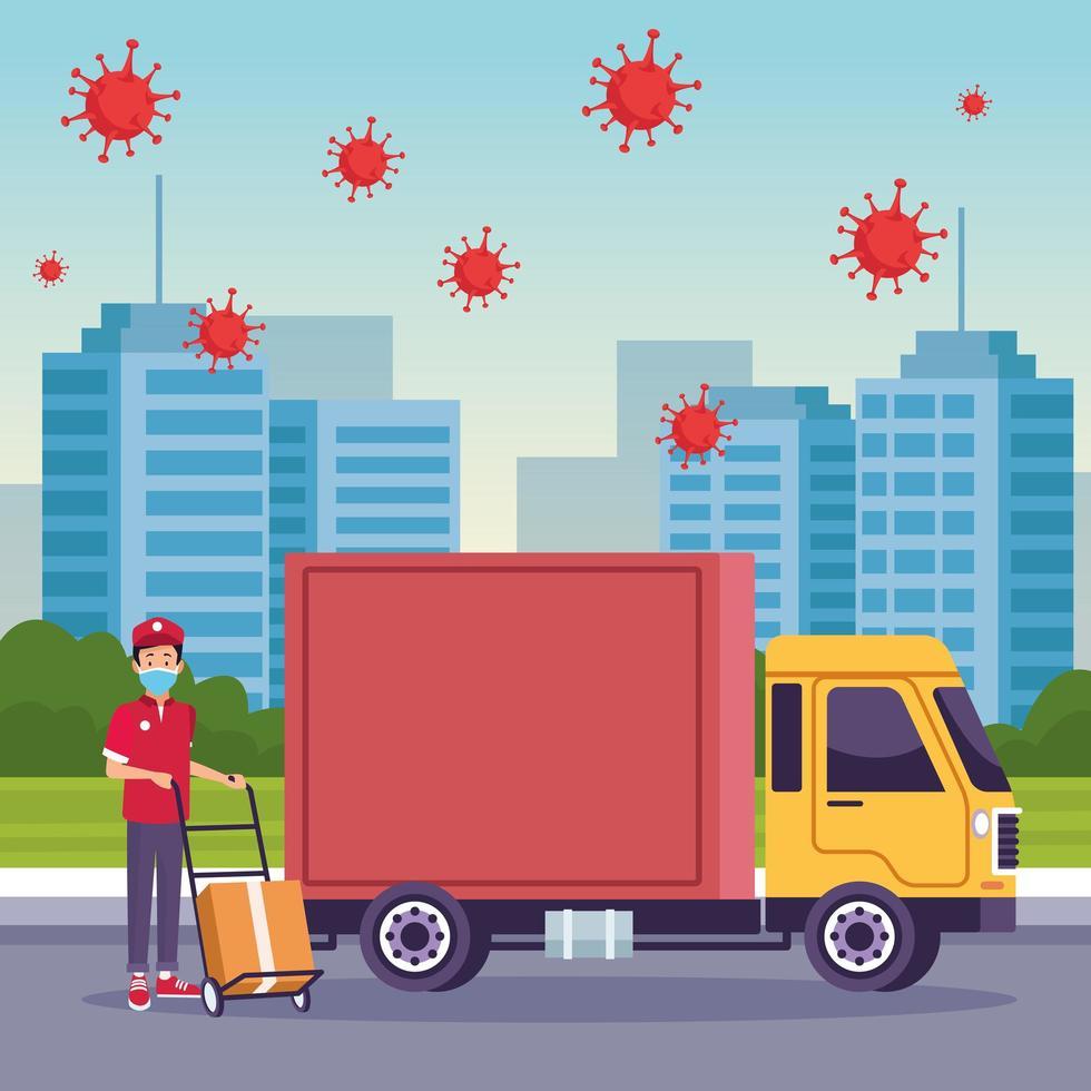 service de livraison de camion avec des particules de covid 19 vecteur