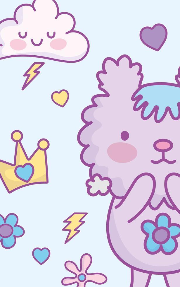 carte de personnage animal kawaii ou modèle de bannière vecteur