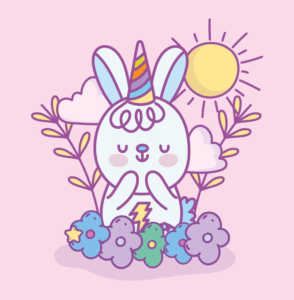 Petit lapin kawaii avec chapeau de fête à l'extérieur vecteur