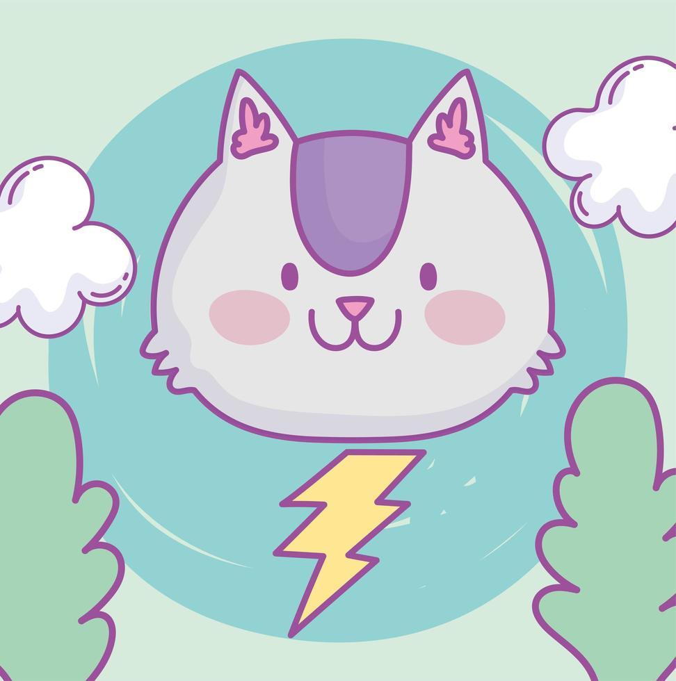 Visage de petit chat kawaii avec éclair vecteur