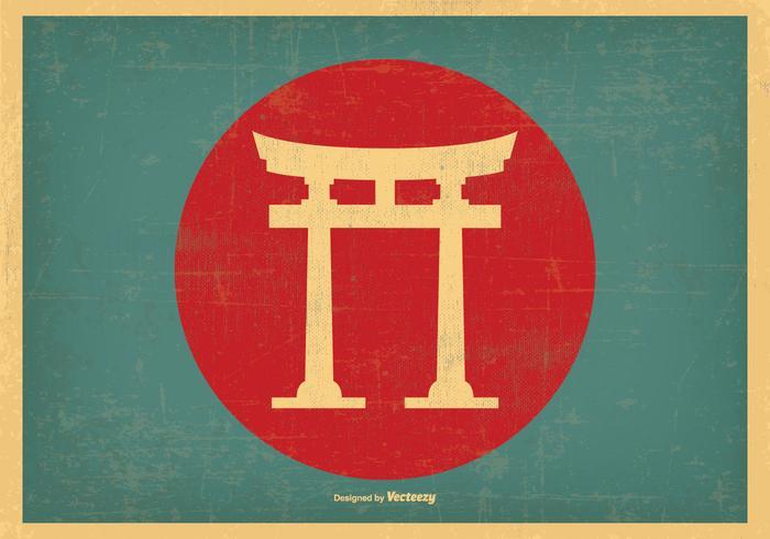 Illustration japonaise de Retro Torii Gate vecteur