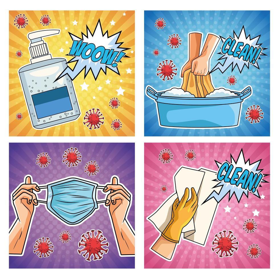 quelques méthodes de prévention des pandémies de covid19 dans un style pop art vecteur