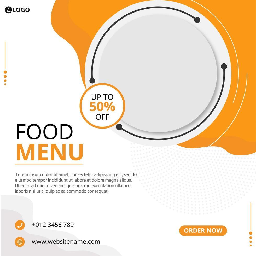 publication sur les réseaux sociaux alimentaires vecteur
