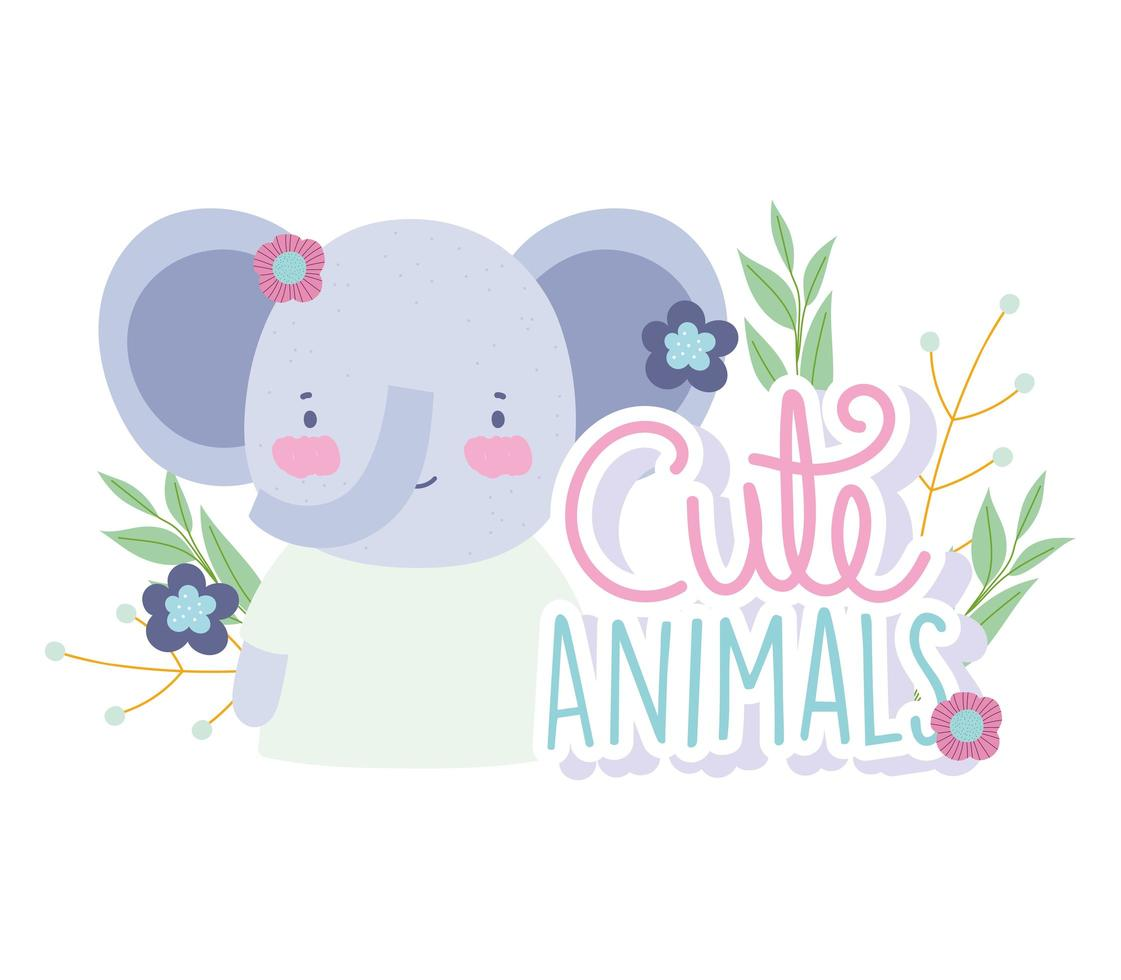petit éléphant mignon avec des fleurs et des lettres vecteur