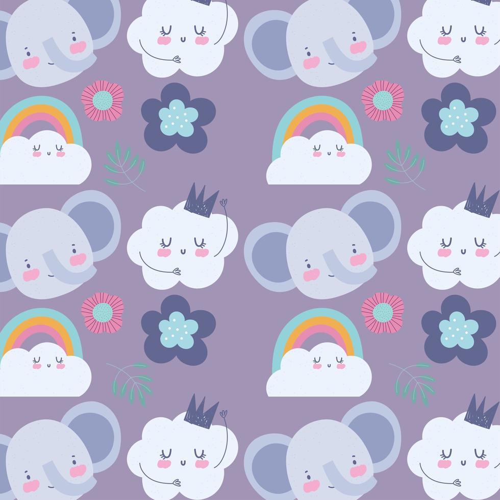 petits visages d'éléphant avec fond de nuages vecteur