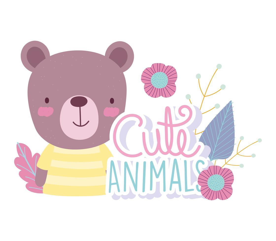 dessin animé ours avec fleurs et lettrage vecteur