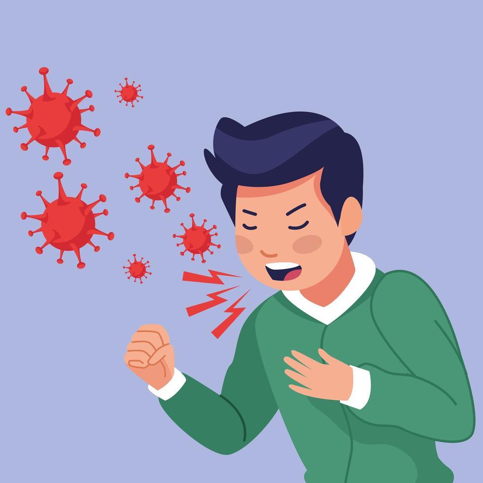un jeune homme malade toussant avec des symptômes de covid 19 vecteur